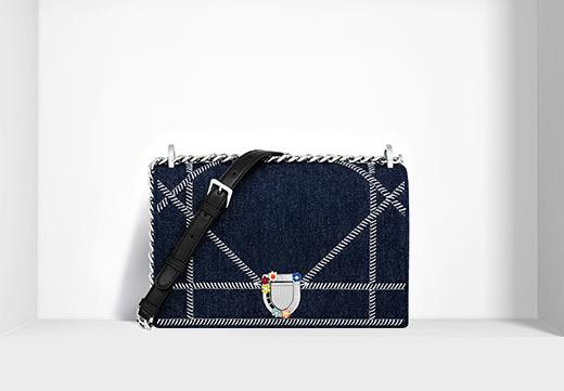 牛仔布刺绣花纹缝线diorama链条包