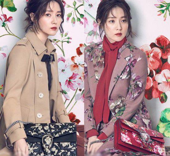 韩国女明星李英爱演绎宫廷风浮雕花纹与天竺葵印花