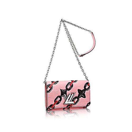 粉色epi牛皮与链条印花twist chain lv链条手包