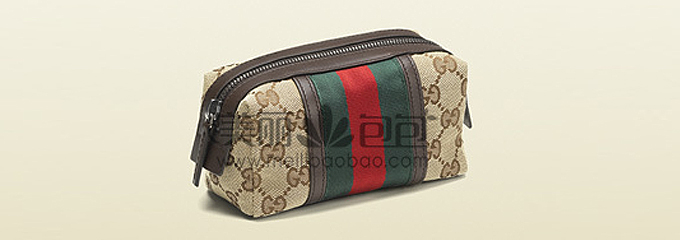 GUCCI红绿条纹系列 浅啡色古琦化妆包G256639