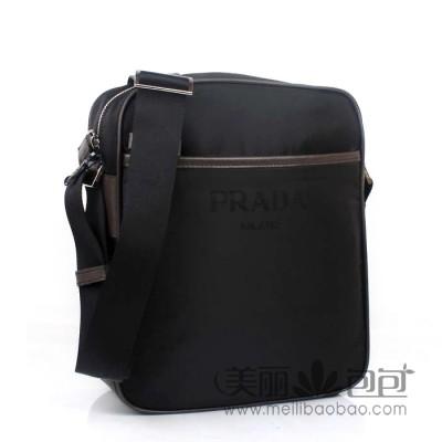 普拉达Prada帆布系列 小巧迷你型男士单肩/斜挎包 P0795B黑