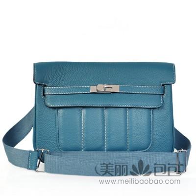 HERMES 新款女包 蓝色小牛皮荔纹银扣爱马仕包包1268LNY