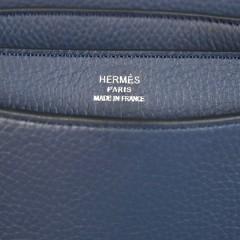 Hermes 38CM Sac a Depeche 深蓝色荔枝纹男士爱马仕公文包668SLY