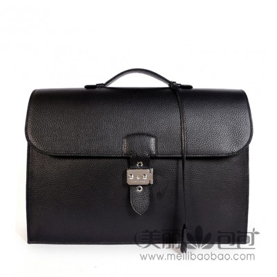 Hermes 38CM Sac a Depeche 黑色荔枝纹男士爱马仕公文包668BY