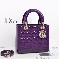 高贵紫色Lady dior戴妃包 迷你漆皮迪奥包包44550/44551ZLG