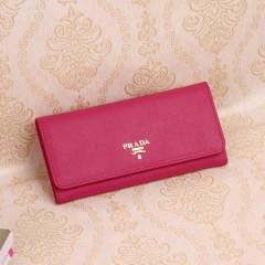 经典二折翻盖prada女士钱包 进口原版牛皮十字纹普拉达钱包1M1132