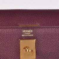 hermes kelly 原版紫色牛颈纹爱马仕凯莉包32-35cm