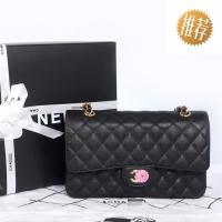 香奈儿包包classic flap双C金链 黑色球纹牛皮Chanel女包A01112/01113BNG
