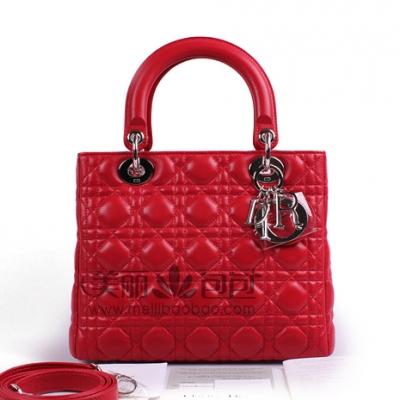 Lady Dior女士手提包 红色小牛皮小号斜挎包CAL44551