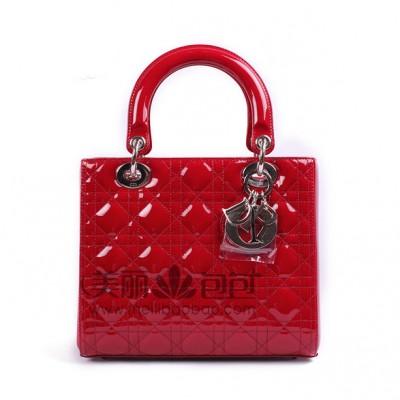 经典迪奥戴妃包 红色漆皮lady dior包包44550/44551