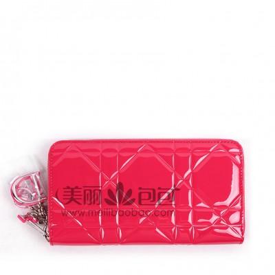 糖果色迪奥拉链钱夹 桃红色牛漆皮藤格纹dior钱包