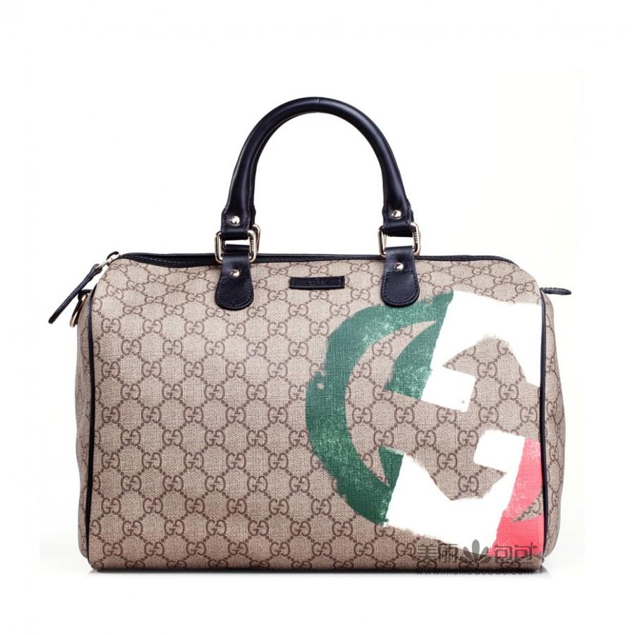 古驰包包价格_限量版gucci包包 古驰女士PVC涂层波士顿桶包195451-美丽包包名品网