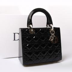 明星款迷你5格Lady dior包包 黑色漆皮银饰小巧迪奥包包44550/44551SBDY