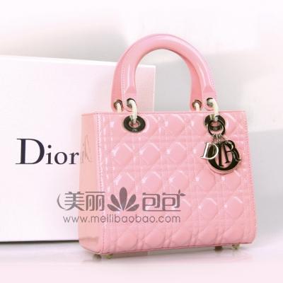 明星款樱花粉色Lady dior包包 5格7格亮漆皮迪奥戴妃包9822PLG