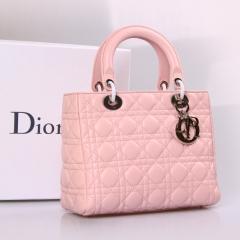 浅粉色lady dior戴妃包 进口原版小羊皮银扣迪奥包99002QFY