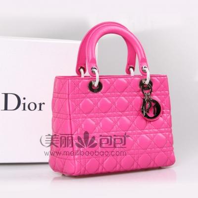 桃红色lady dior戴妃包 进口原版小羊皮银扣迪奥包99002TYY