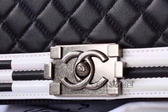 新品黑白马赛克边框le boy chanel 原版羊皮香奈儿包包a92201 a92202