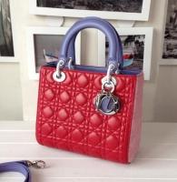 全新精美红粉紫三拼色lady dior 法国原版羊皮迪奥戴妃包99002