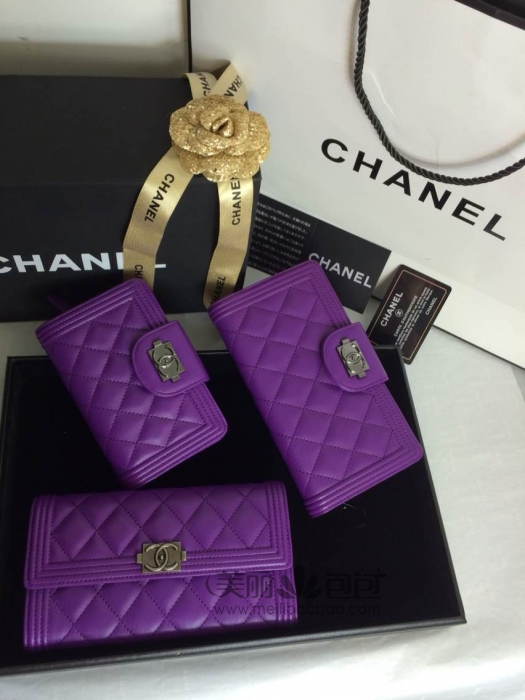 紫色水晶羊皮le boy复古风格 香奈儿长款口盖钱包