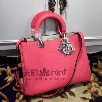 桃粉色Diorissimo VIP系列迪奥包包 原版南非荔枝纹牛皮