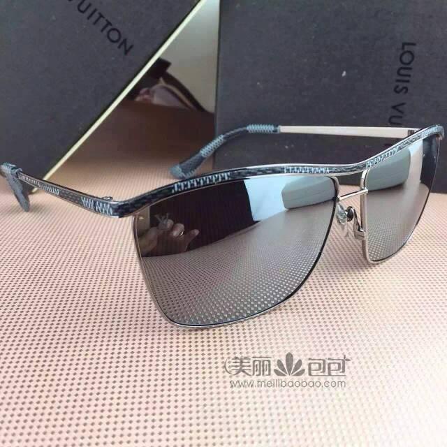 黑镜 黑格与蓝镜 啡格 绚丽彩膜lv太阳墨镜 金色边框镶嵌damier格纹