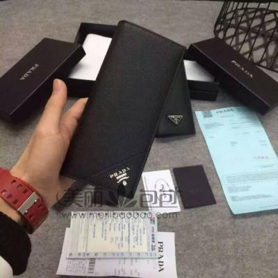 普拉达prada最新三角标长款折叠钱包
