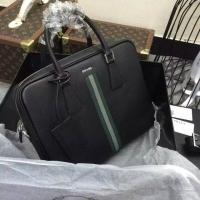 普拉达PRADA彩色织带男士手提包/公文包VS363R