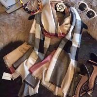 巴宝莉秋冬爆款 经典格子 纯羊绒围巾披肩