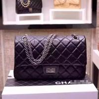 经典名款chanel2.55复刻方扣系列 黑色手掌纹银链香奈儿口盖包30226BSY