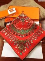 珠光宝器民族风花纹 正品最优 丝羊绒 珠光宝器爱马仕大方巾