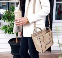 Celine micro luggage赛琳经典杏色平纹牛皮原版笑脸包
