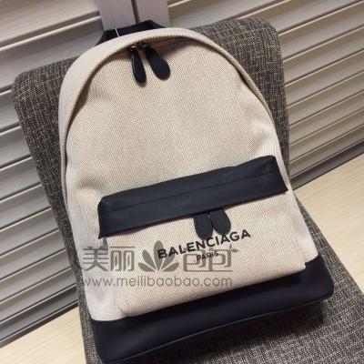 巴黎世家新款 Balenciaga Canvas Backpacks 个性拼色帆布双肩包