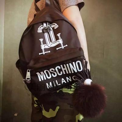 杨幂同款休闲运动风 个性印字MOSCHINO帆布双肩包