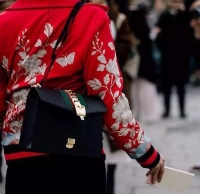 古驰新款gucci SYlvIE女包  中号彩色织布肩带锁链包421882