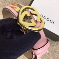 最优精品 爱心桃金色双G扣+天竺葵印花 充满少女心的gucci古驰新款腰带
