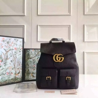 Gucci GG Marmont黑色牛皮新款双肩包 中性复古风格古驰背包429007