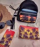 YSL圣罗兰迷你双肩包 数码印椰树图案度假风铆钉双肩包