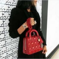 王若丹街拍同款 最新拉链款lady dior迷你包