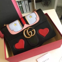 GG Marmon时髦新宠!充满少女心的爱心桃gucci链条包431382