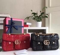 2017走秀款GG Marmont绗缝铆钉珍珠包 双G扣gucci链条包443497