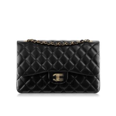法国经典明星款CF香奈儿包包 黑色羊皮双C扣金链A01112/1113BYG
