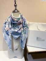 迪奥2018春夏新款丝巾 多彩装饰花绘图案大方巾披肩