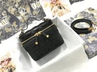 dior travel复古盒子包 迪奥小羊皮藤格纹化妆包S5488
